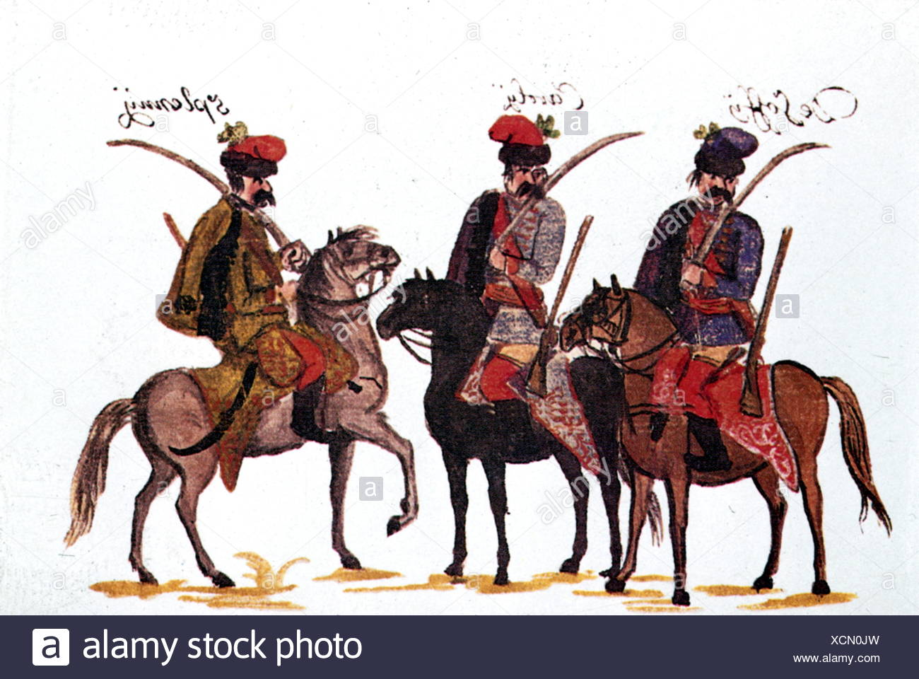 military, Austria, cavalry, Hungarian hussars, Rhine army 1734, drawing by Franz Philipp von Gudenus (1710 - 1783), Additional-Rights-Clearences-NA - Stock Image