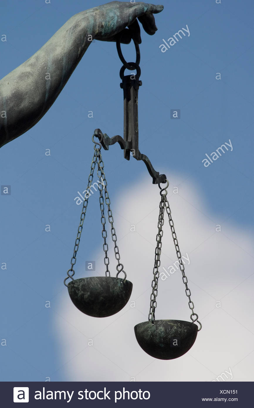 scales of lady justice fountain at frankfurt romans - Stock Image