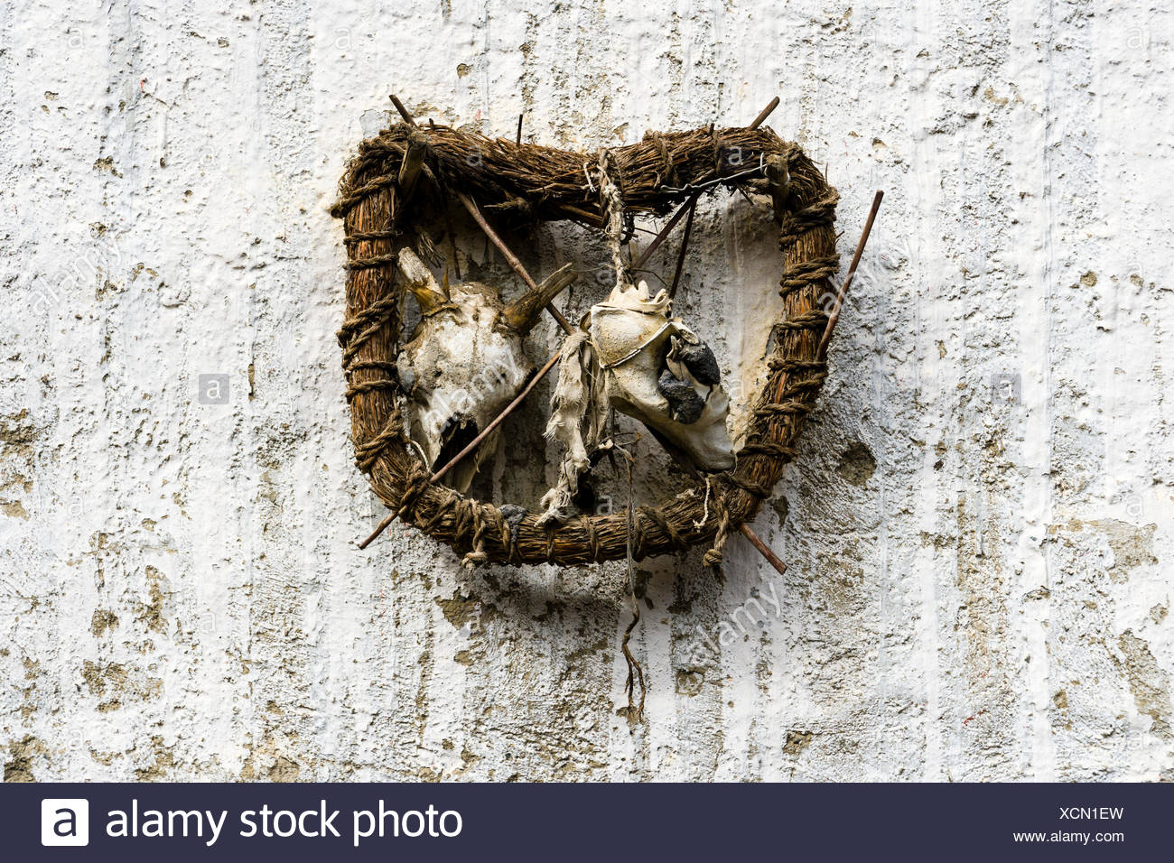 Ghost trap protecting house, Bön religion, Purang, Mustang District, Nepal - Stock Image