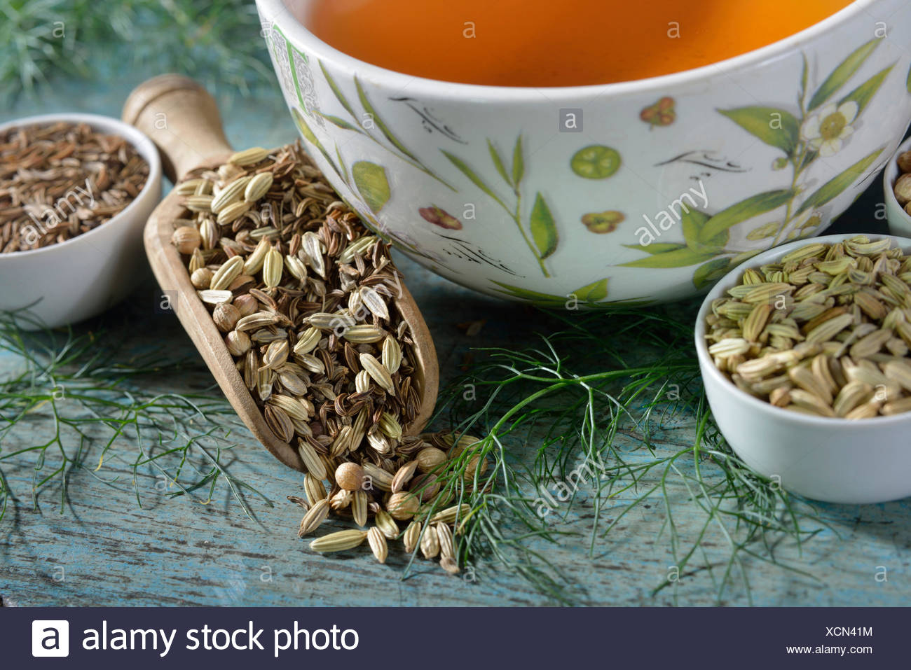 cup of tea with anise, fennel, annual caraway, coriander
