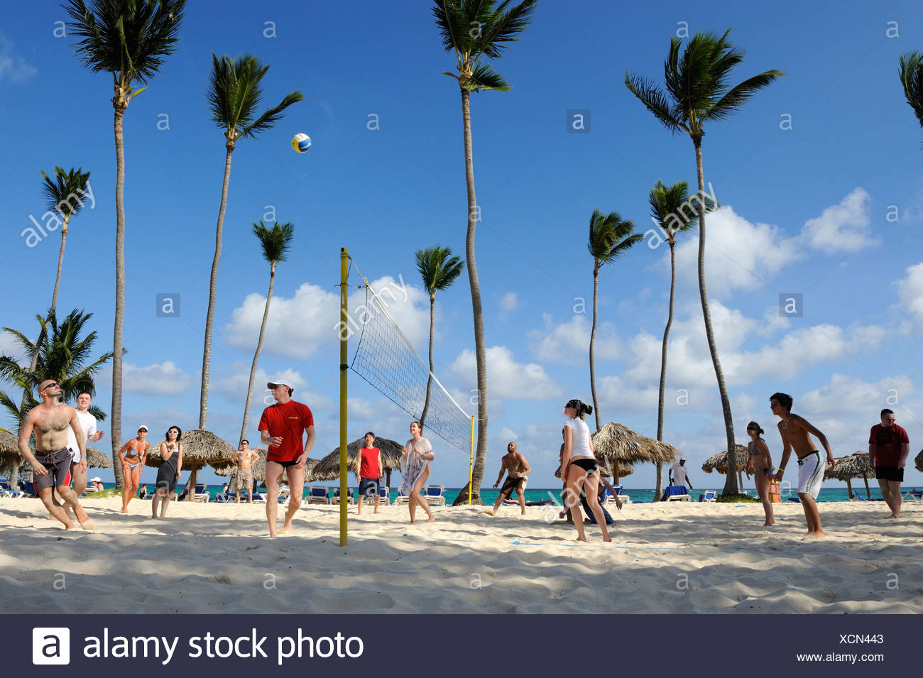 Beach volleyball, Punta Cana, Dominican Republic, Caribbean - Stock Image