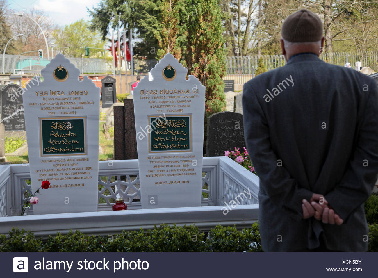 Controversial grave stone-renewal at the Sehitlik Mosque in Berlin-Neukoelln for the Turkish politicians Behaeddin Shakir Bey - Stock Image