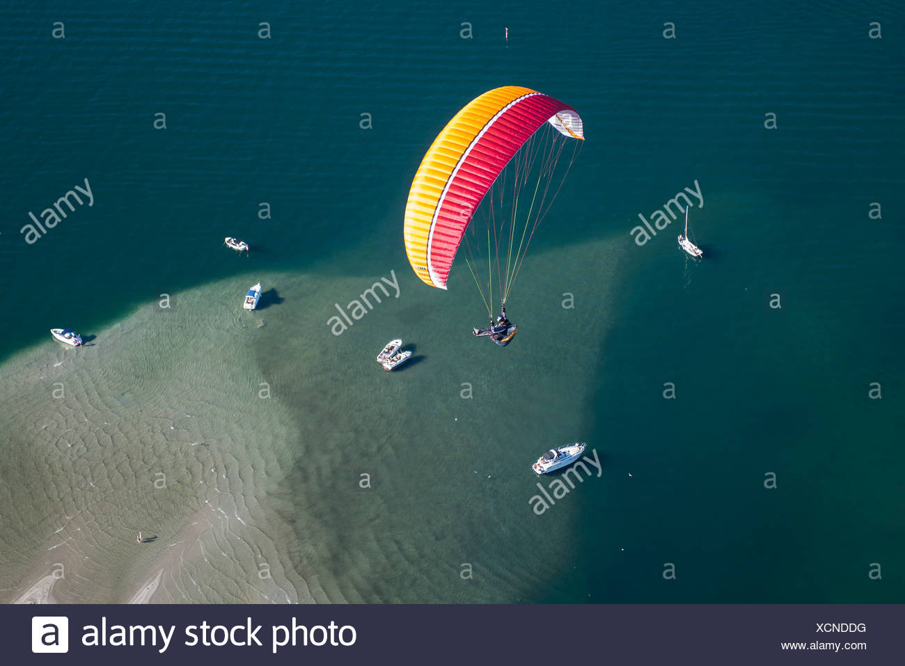 Paraglider over the Maggia river delta with naturally formed water and rocks terrain, natural beach, Locarno, Kanton Tessin - Stock Image