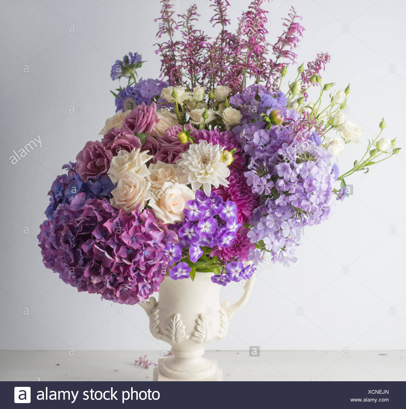 Formal Flower Bouquet With Hydrangea Roses Dahlias And Phlox Stock