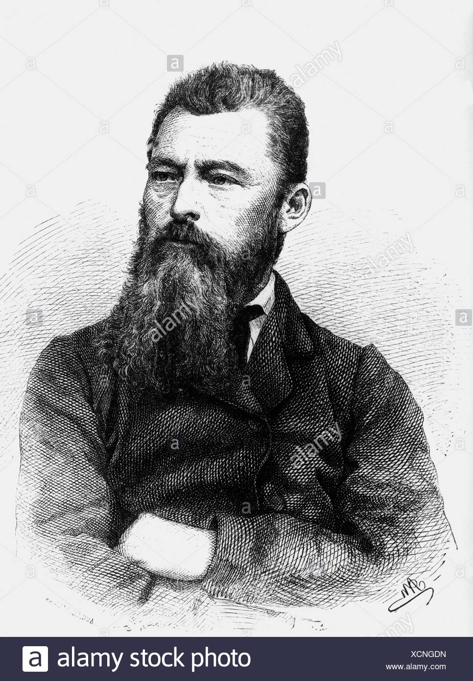Feuerbach, Ludwig, 28.7.1804 - 13.9.1872, German philosopher, wood engraving, 1872, Additional-Rights-Clearances-NA - Stock Image