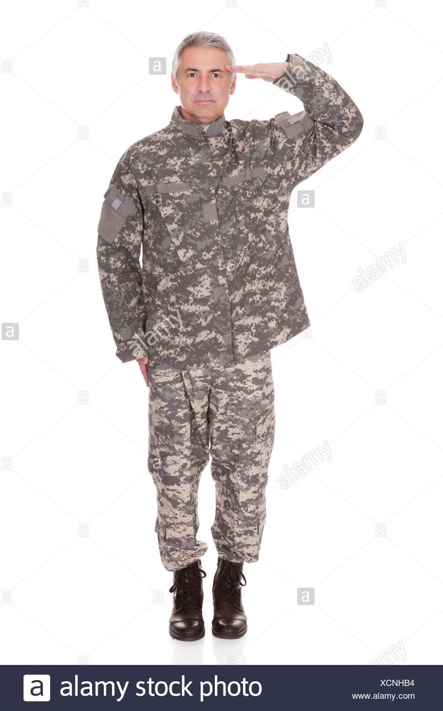 Mature Military Soldier Saluting Isolated On White Background Stock Photo