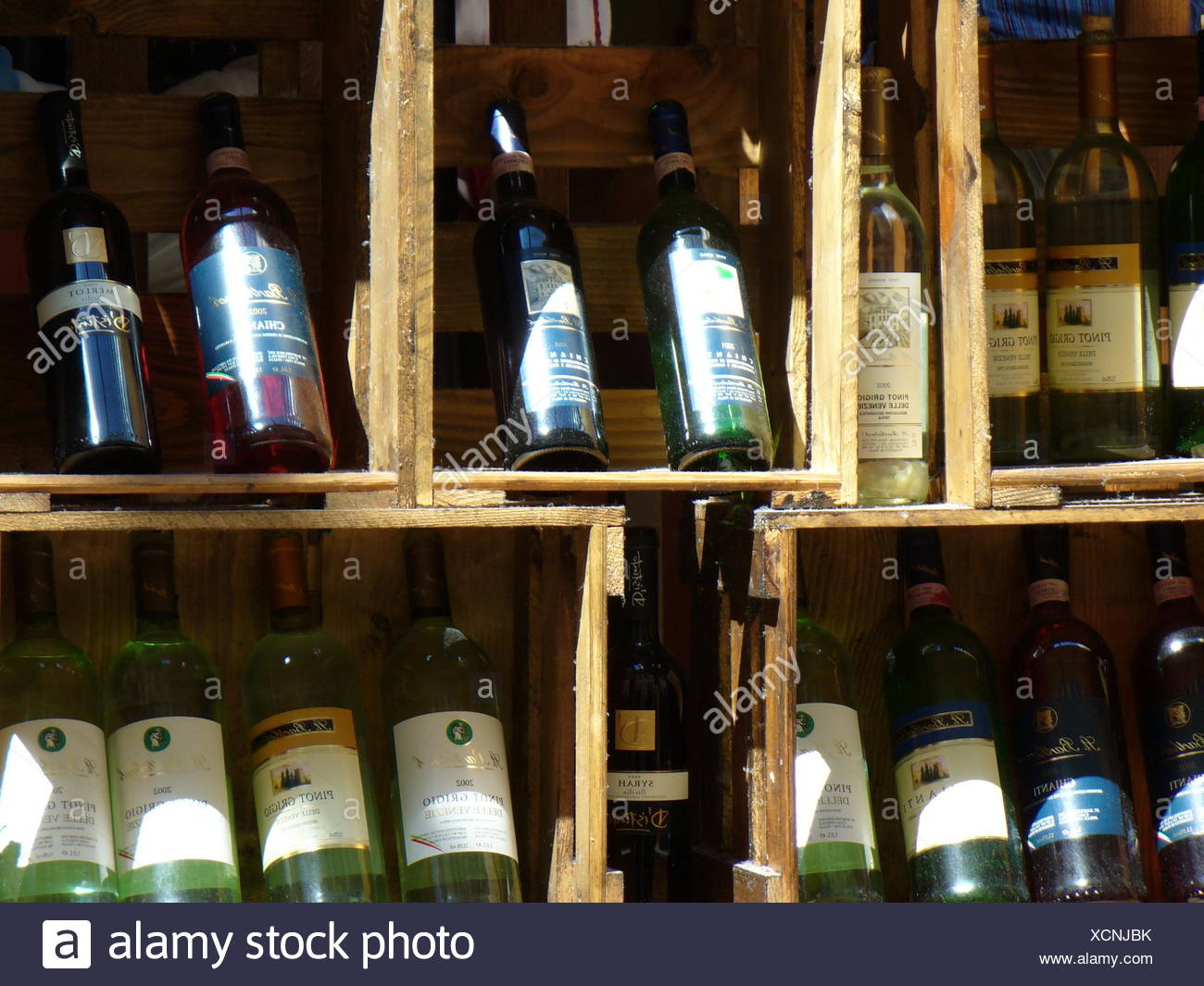 wine exposition champagne bottles boxes selection provision camp enthusiasm Stock Photo