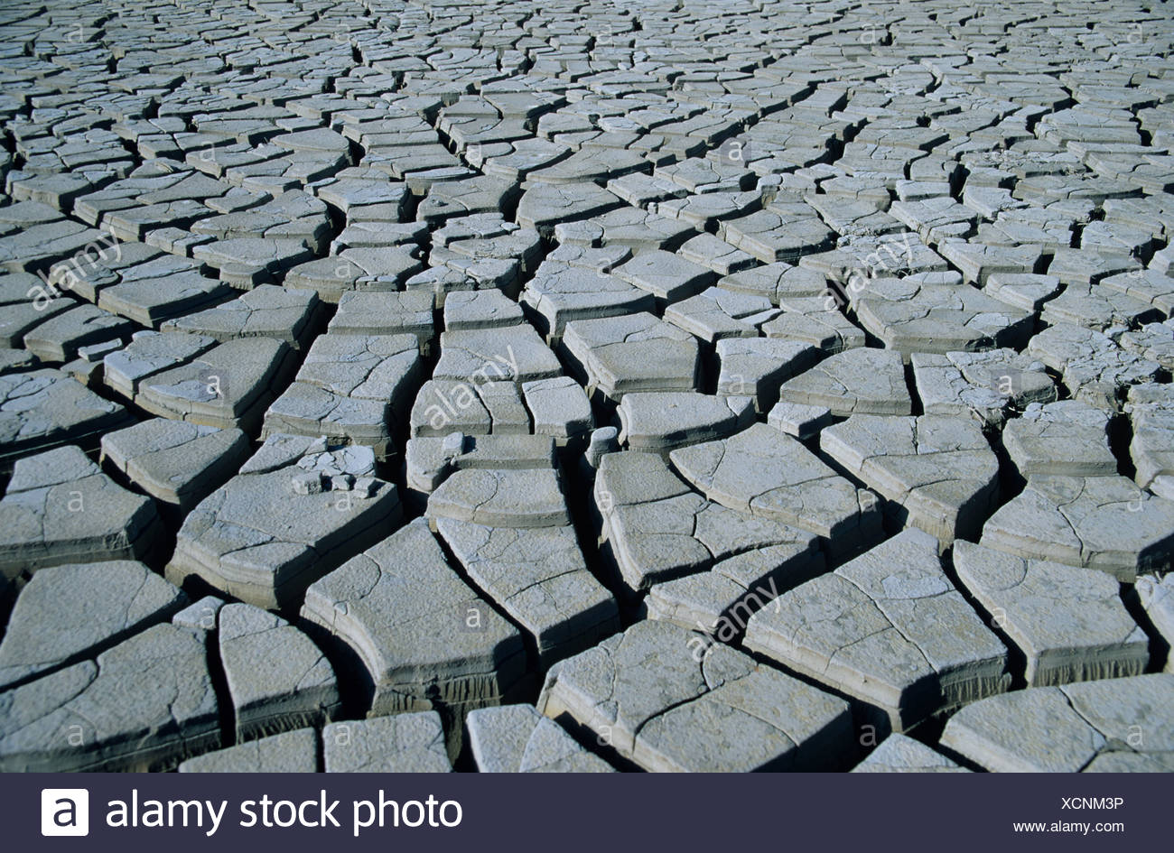 cracked mud on dried up lake bed after drought Cuba - Stock Image