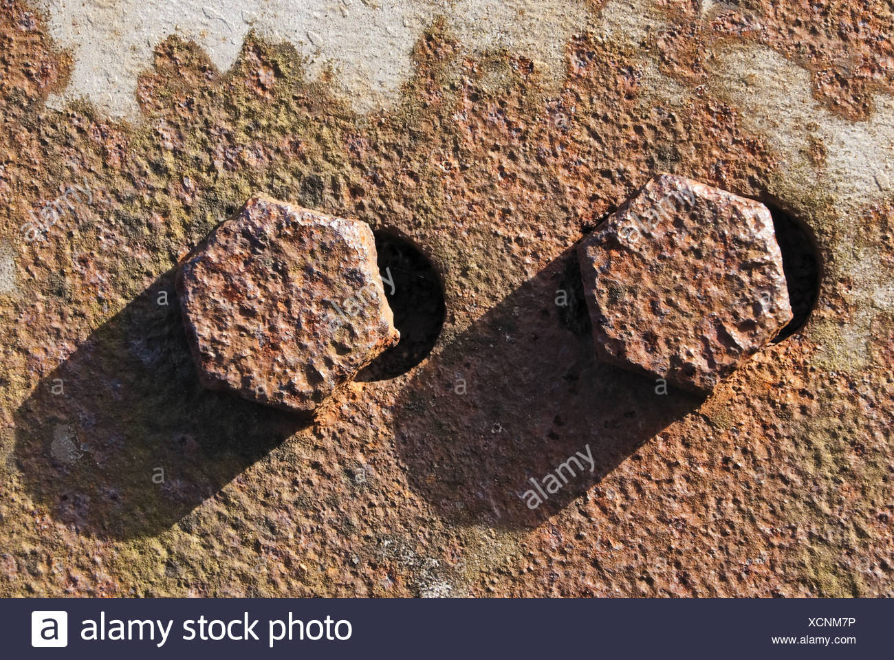 rusty steel plate with screws Stock Photo