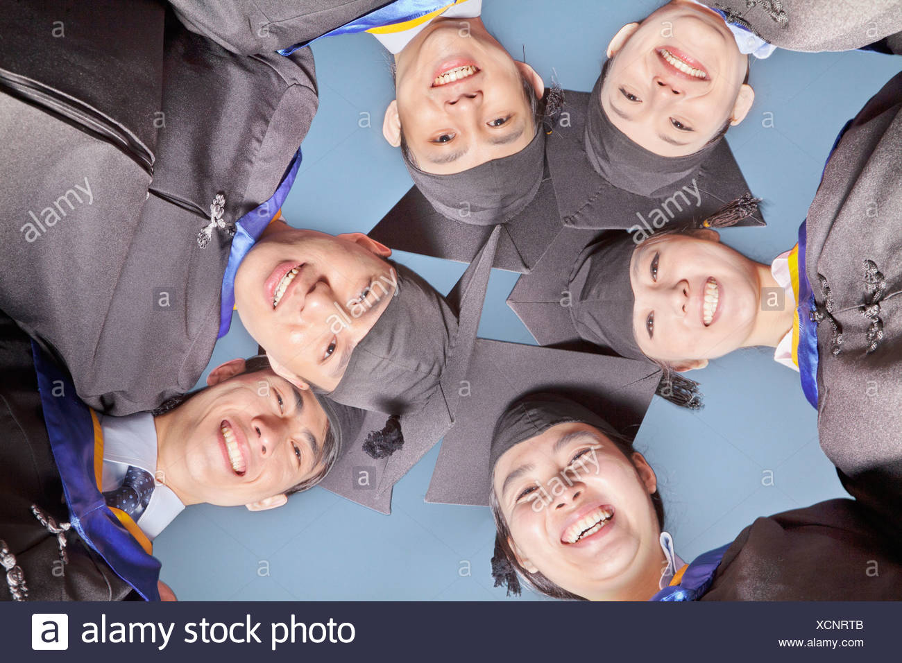 Circle of Graduate Students, View from Below - Stock Image