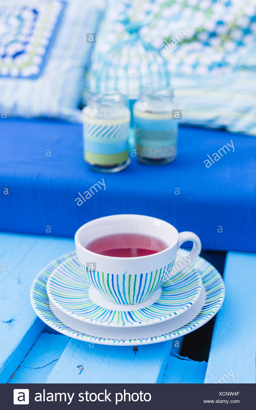 sofa made of pallets, teacup, detail, - Stock Image