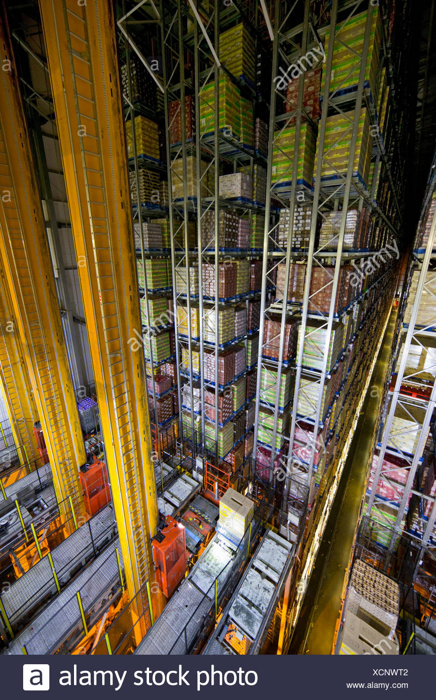 Foodstuffs merchandise stored in automated storage and retrieval systems warehouse stack - Stock Image