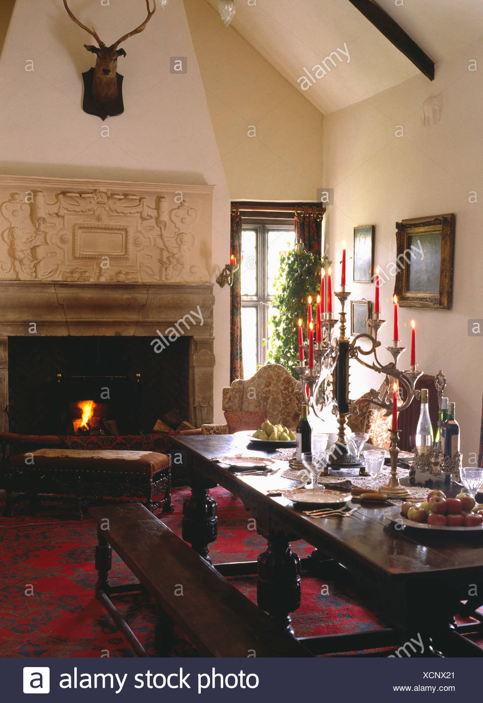 Marvelous Ornate Overmantel On Jacobean Fireplace With Fire Lit In Squirreltailoven Fun Painted Chair Ideas Images Squirreltailovenorg