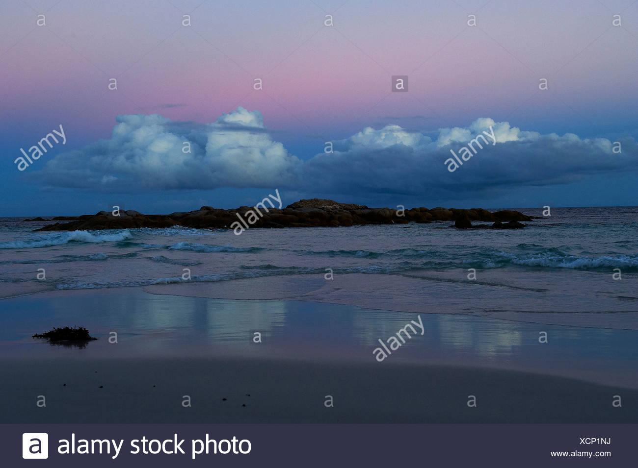 Australia, blue hour, sea, Mount William, national park, reflection, Tasmania, Victoria - Stock Image
