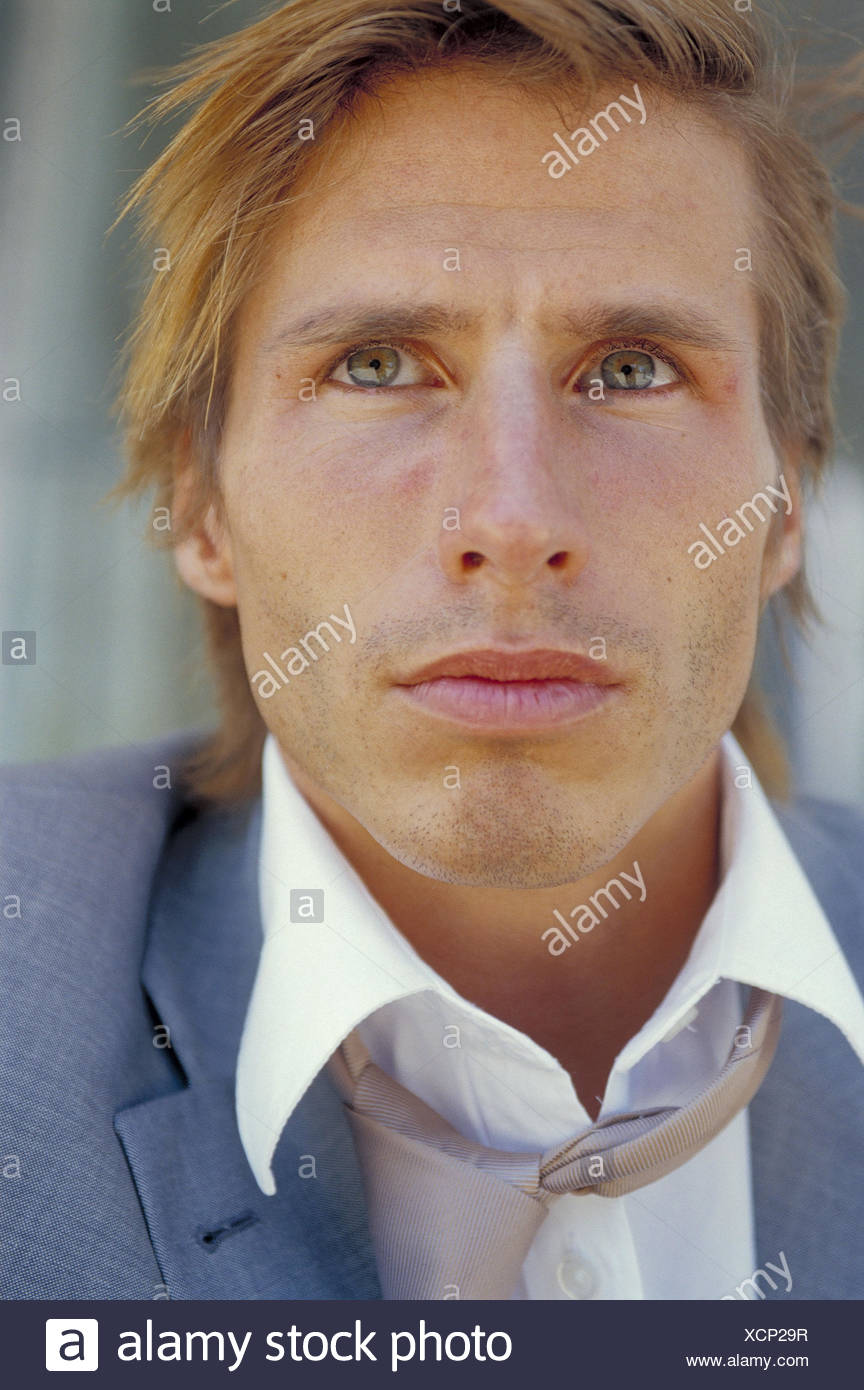 Businessman, seriously, to high-level views, portrait, man's portrait, 30 years, man, frustration, frustrates, crisis, brood, consider, doubt unhappily, thoughtful, insecurity, - Stock Image