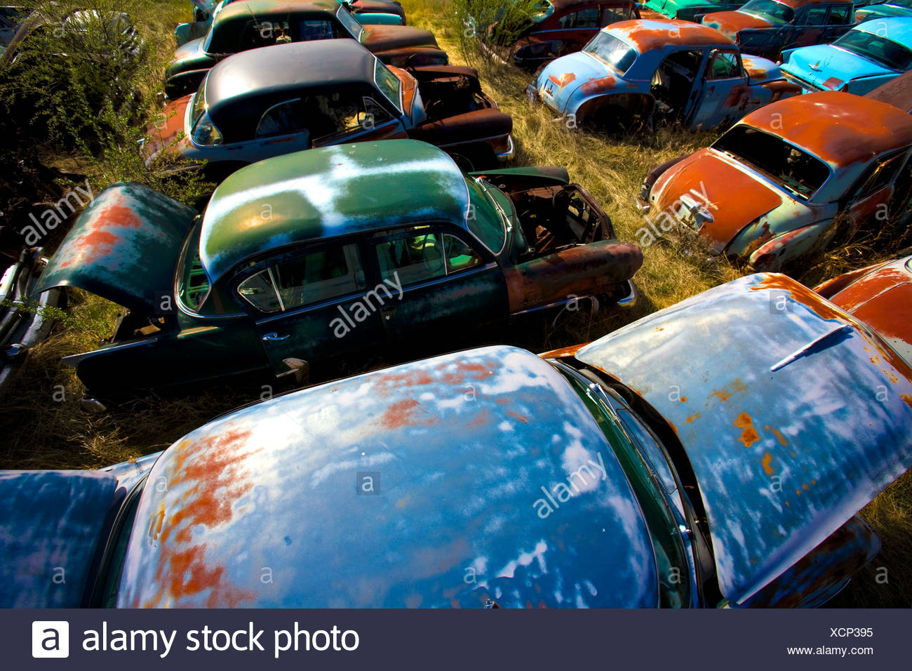 Wrecked Cars Junkyard Stock Photos & Wrecked Cars Junkyard
