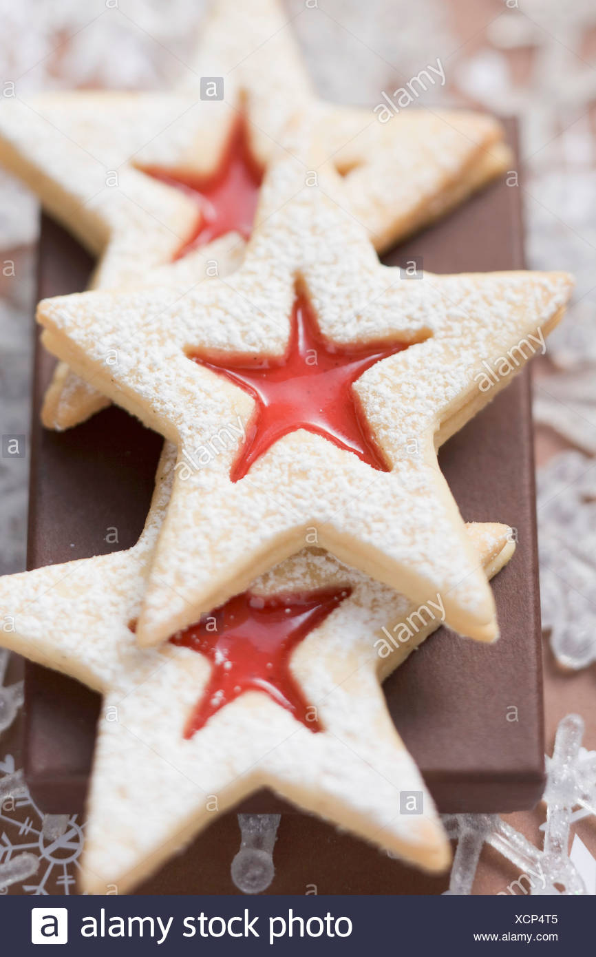 Jam Filled Star Biscuits With Icing Sugar Christmas Stock Photo