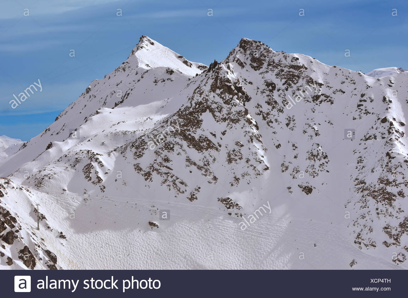 Off piste skiing in Verbier 4 Valleys, Switzerland. In the foreground, Tortin, with the Mt Gele behind. Viewed from a helicopter - Stock Image