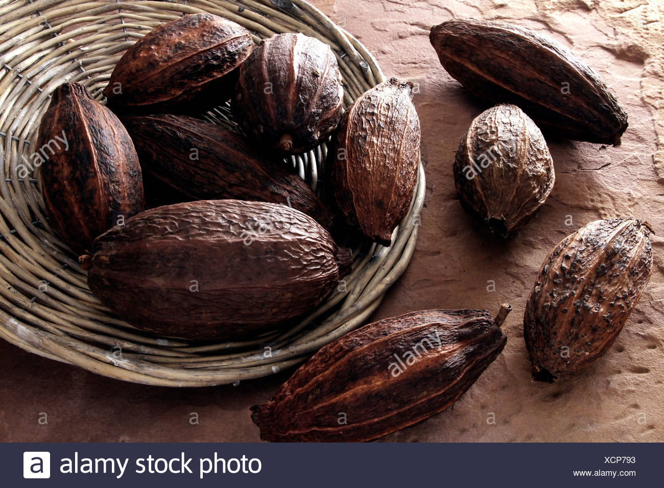 Cocoa beans, tipped from a wicker plate on sandstone - Stock Image
