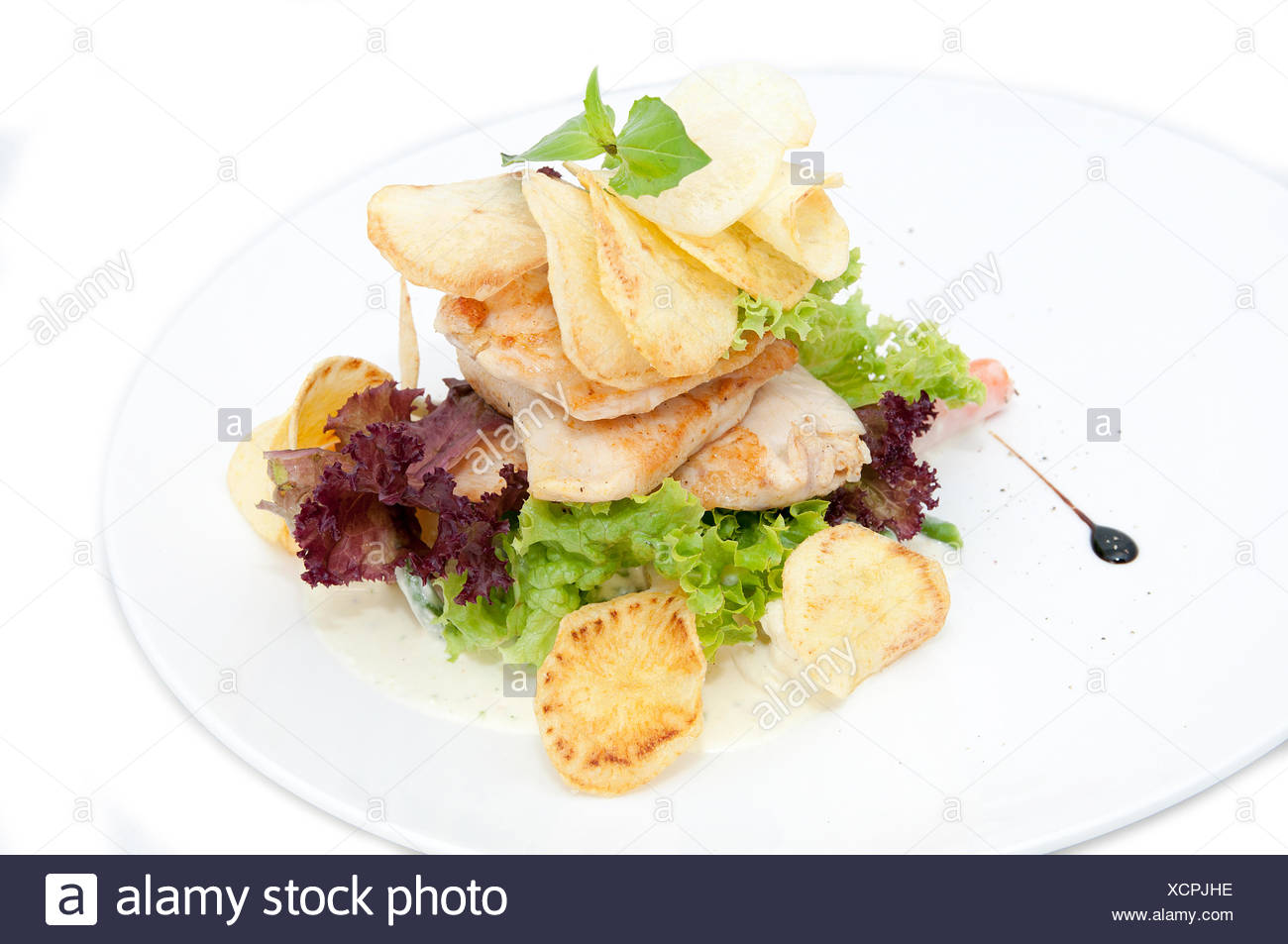 salad with chicken - Stock Image