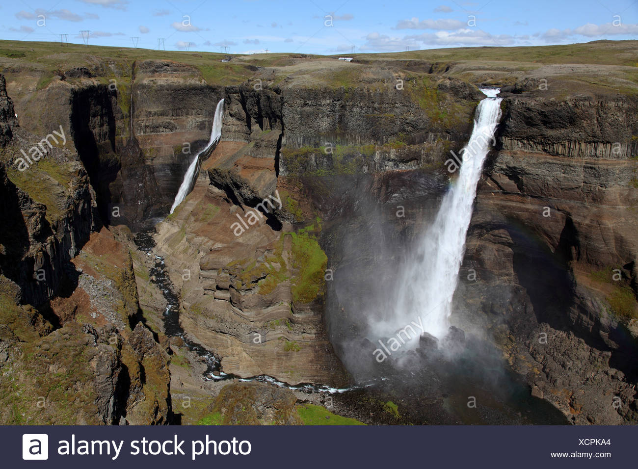 Haifoss waterfall, Iceland - Stock Image