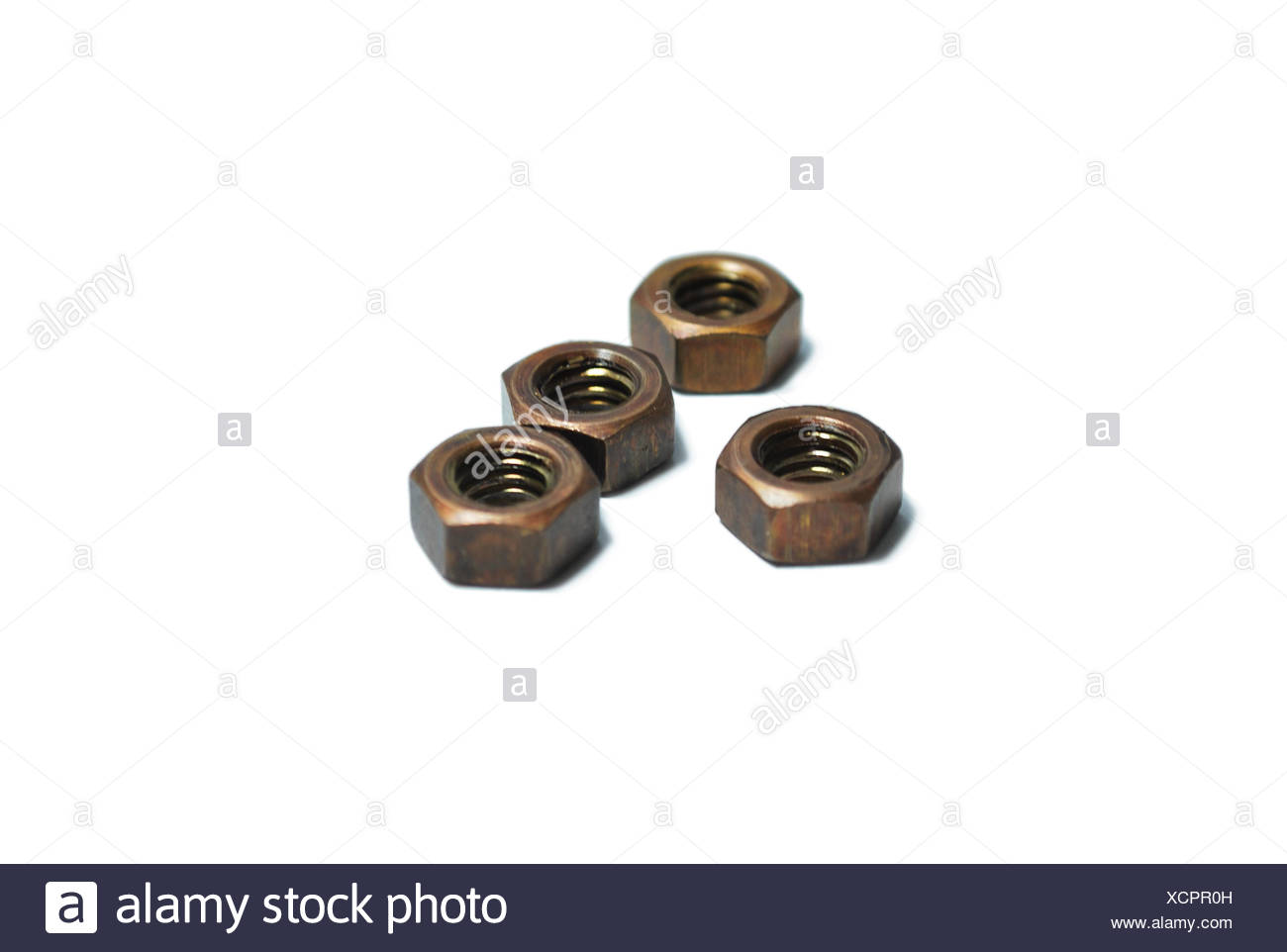 A group of fasteners isolated on white background - Stock Image