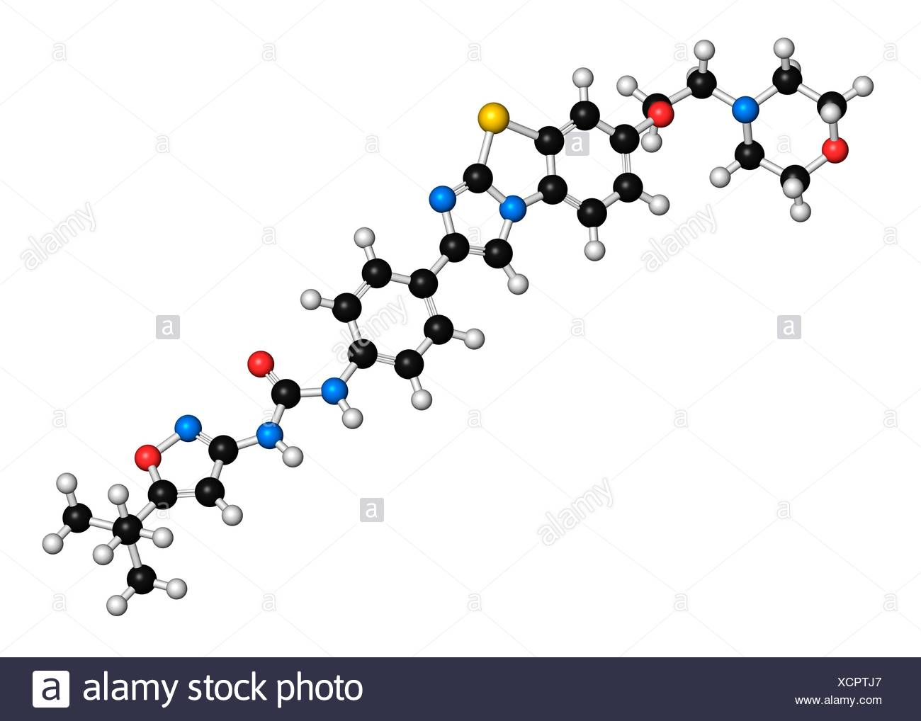 Quizartinib cancer drug molecule (kinase inhibitor). 3D rendering. Atoms are represented as spheres with conventional colour coding: hydrogen (white), carbon (black), nitrogen (blue), oxygen (red), sulfur (yellow). - Stock Image