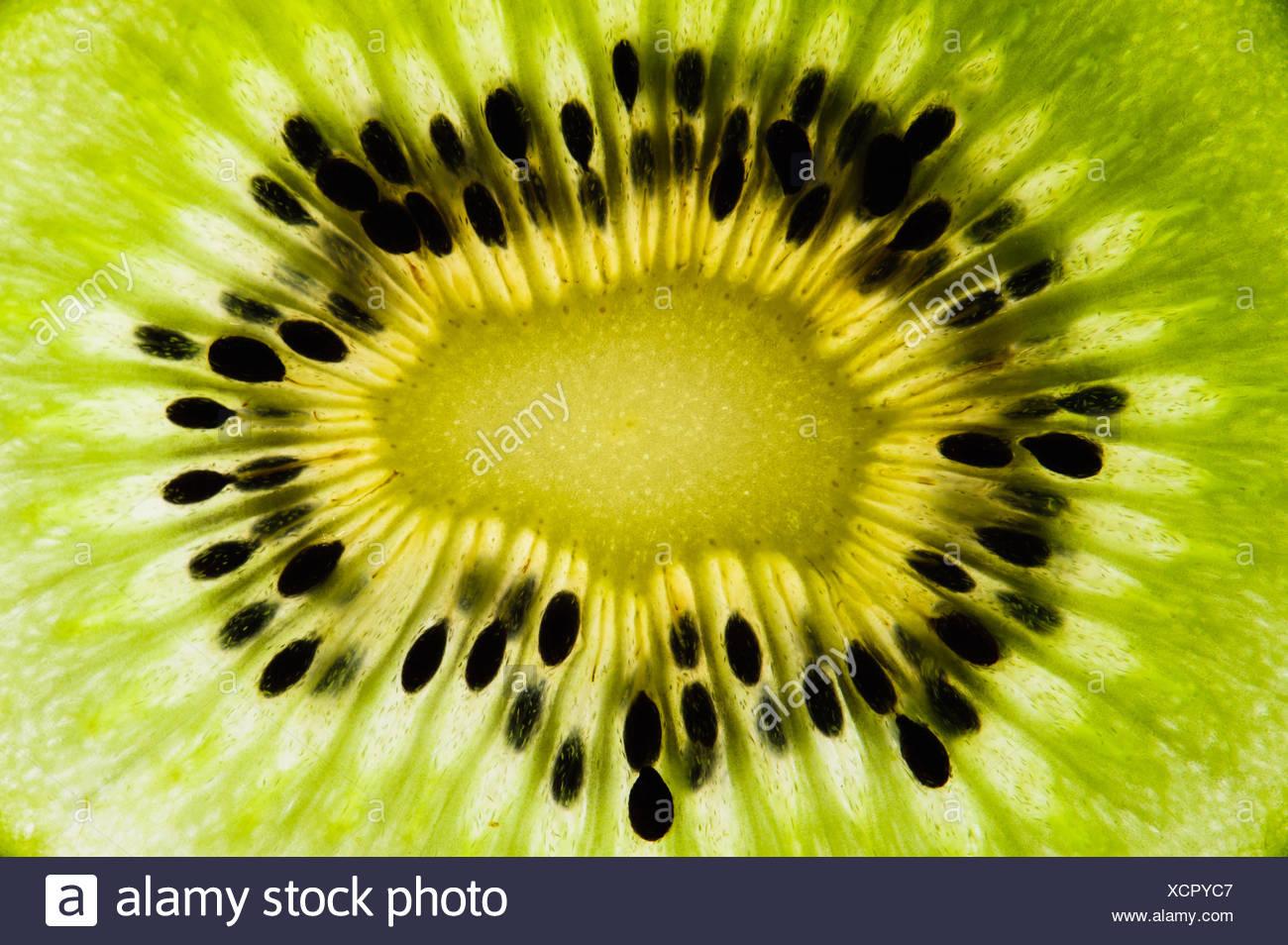plant detail admission fruit perusal kiwi kiwischeibe kiwikern kiwiquerschnitt - Stock Image