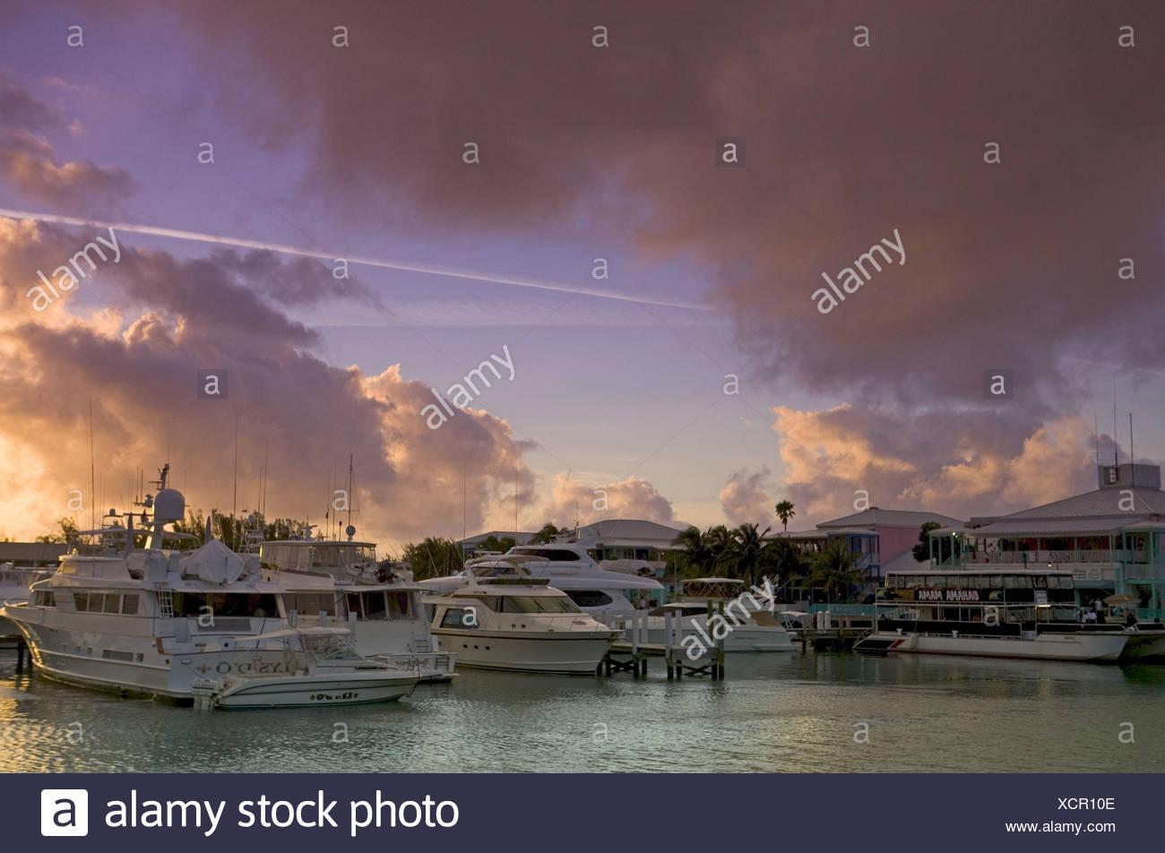 Bahamas, Bootshafen, Boote, Sonnenuntergang Stock Photo