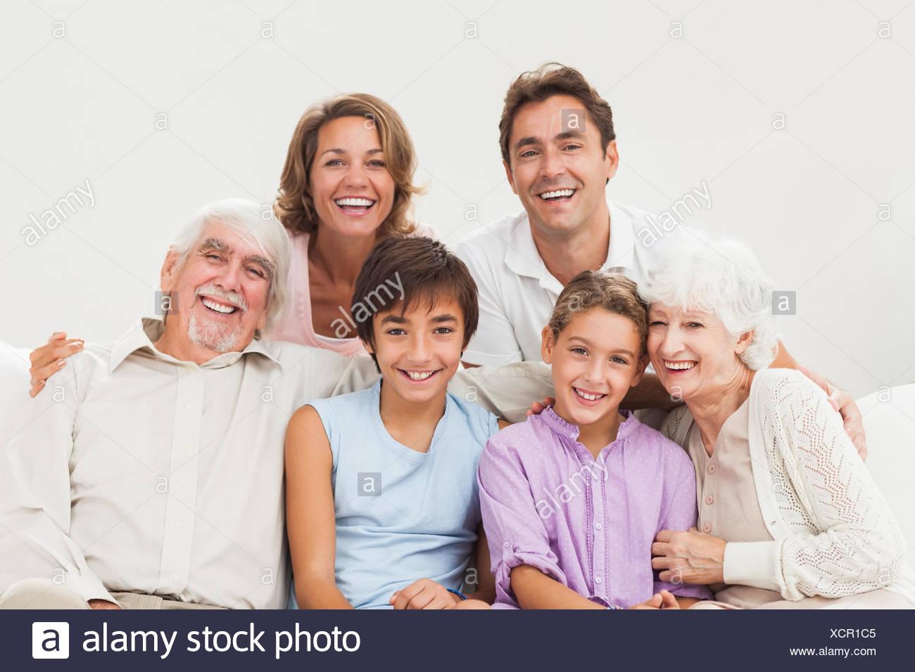 Extended family portrait Stock Photo