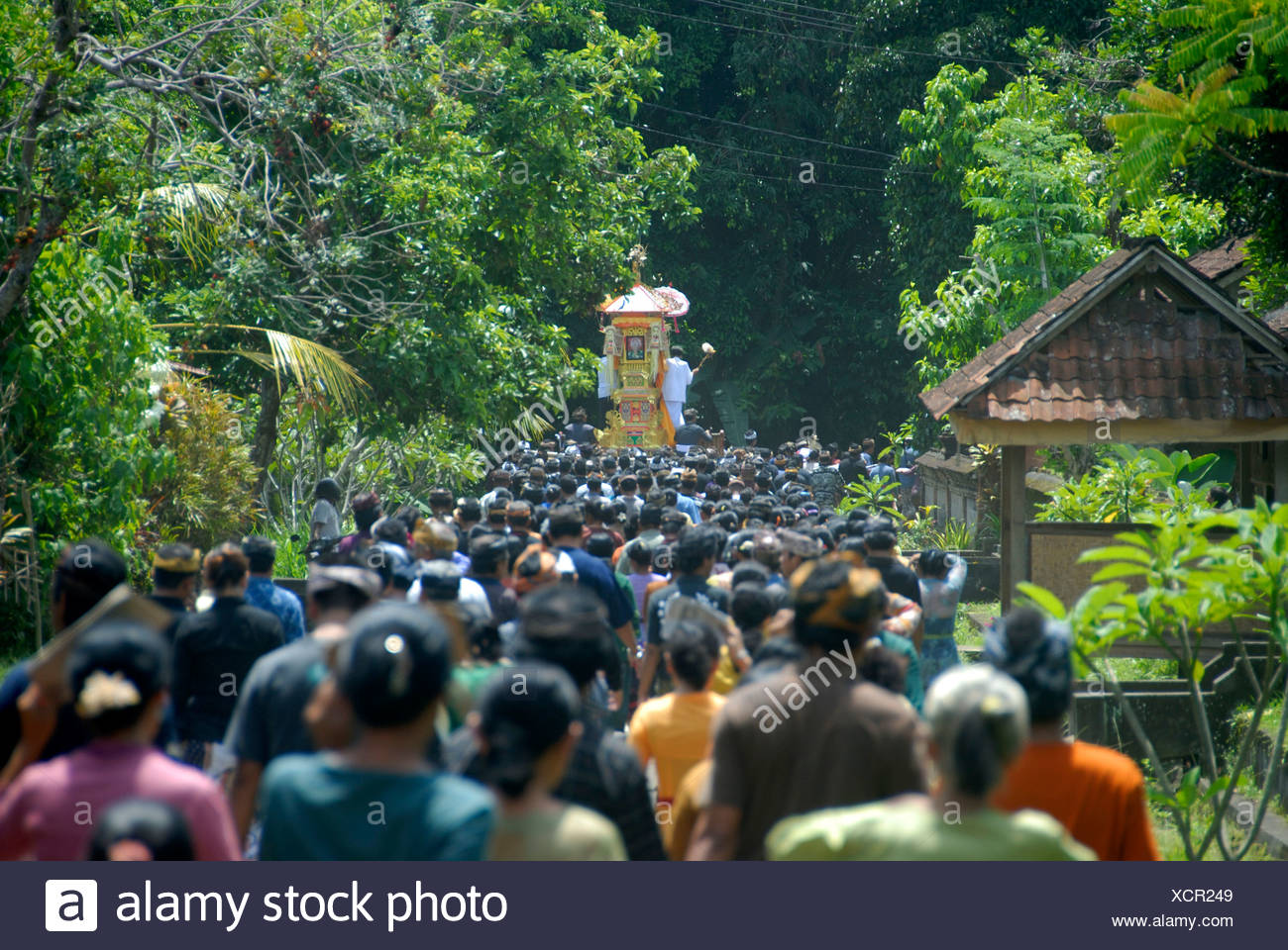 Bali Hinduism, many believers meeting in religious funeral ceremony, procession with dead body in shrine, Bongkasa near Ubud - Stock Image