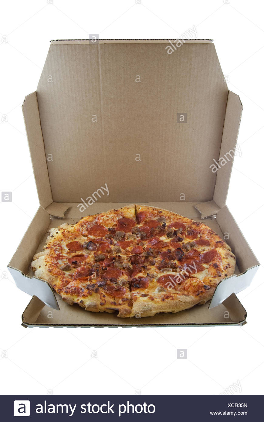 food aliment isolated cake pie pizza dish meal box ordered delivery food - Stock Image
