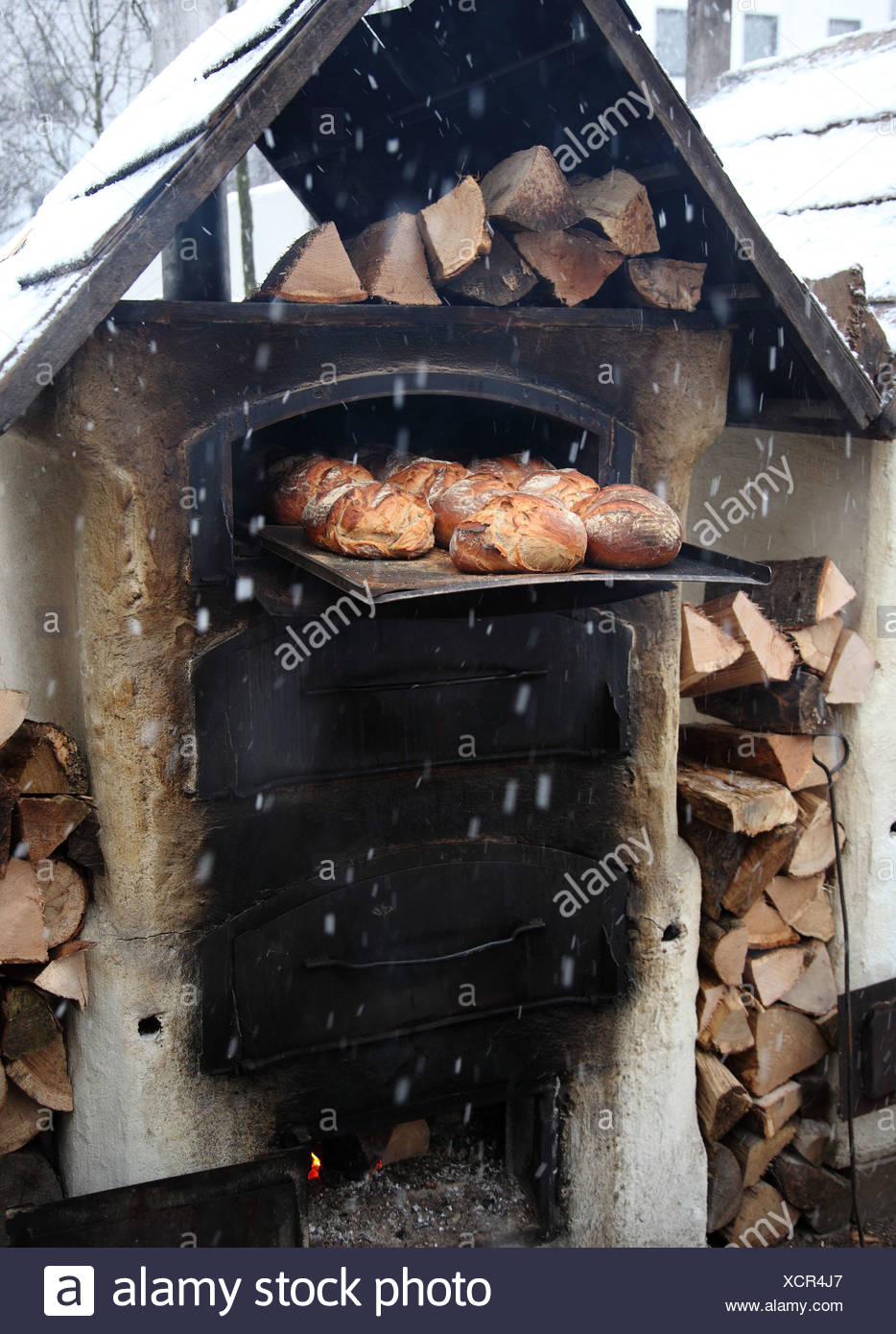 tradition,bread,rustic,stone oven,wood oven - Stock Image