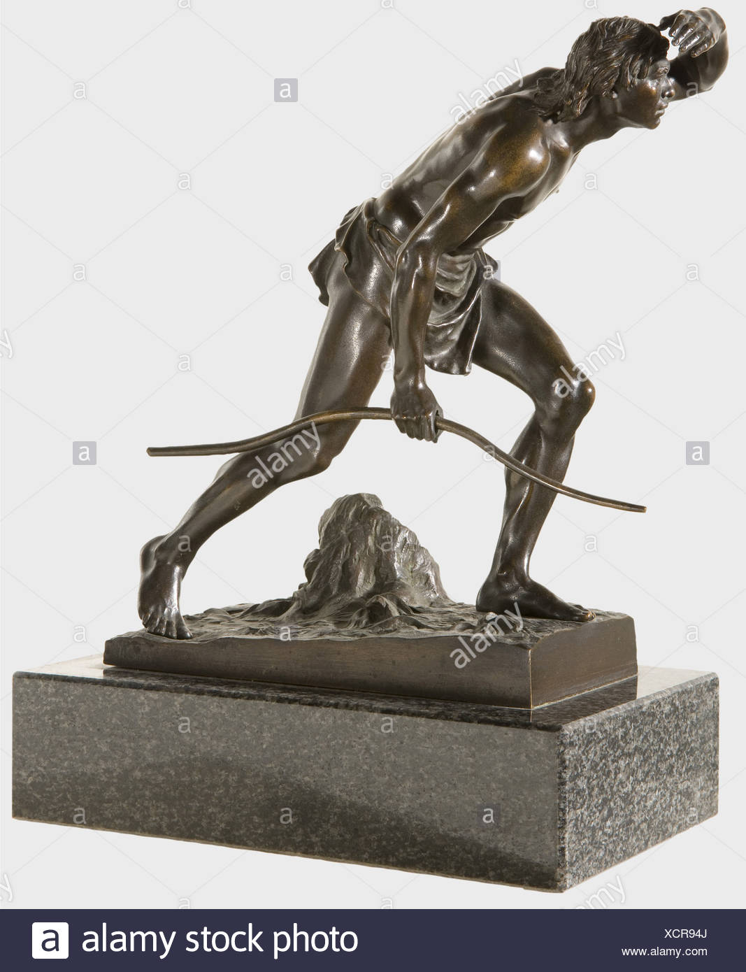 Josef Drischler (1838 - 1917) - a prehistoric hunter., Patinated bronze, prehistoric hunter with loincloth, holding a bow in his hand and looking for game. On a rectangular base, inscribed 'J. Drischler', grey-black marble plinth. Height 32 cm. Drischler worked in Berlin and especially focused on genre figures. In 1880 and 1892 he participated in the exhibitions of the art academy. fine arts, people, 19th century, fine arts, art, statuette, figurine, figurines, statuettes, sculpture, sculptures, object, objects, stills, clipping, clippings, cut out, c, Artist's Copyright has not to be cleared - Stock Image