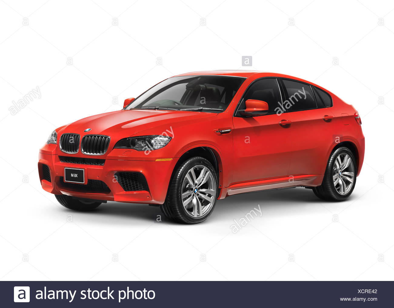 Red 2011 BMW X6 M crossover car - Stock Image