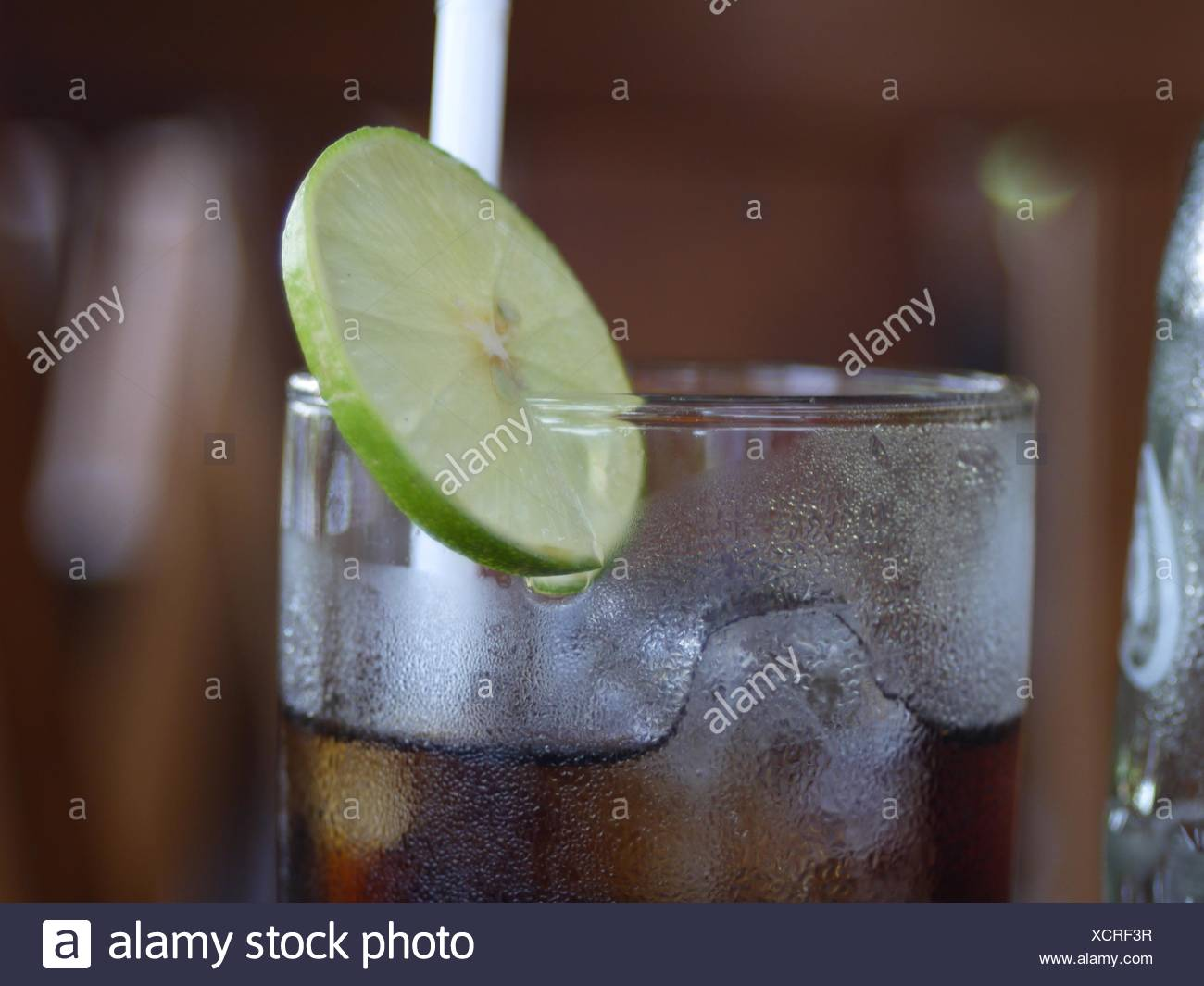 Closer-Up Of Drink With Lemon Slice - Stock Image