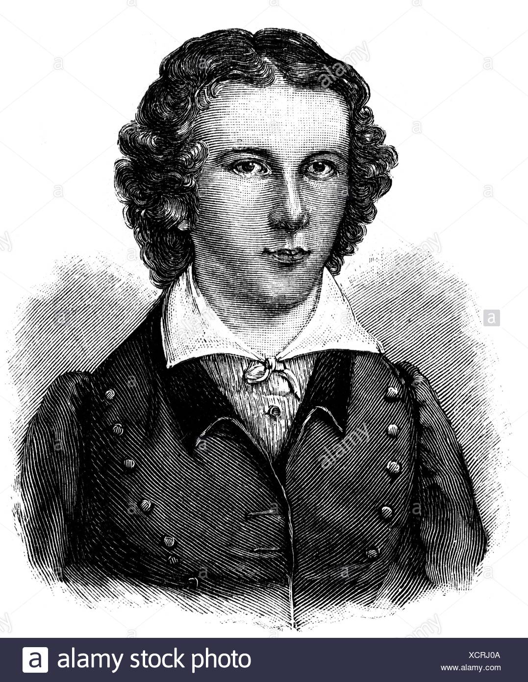 Scheidler, Karl Hermann, 1795 - 1866, German lawyer, philosophy professor, portrait, as student of the fraternity 'Arminia', wood engraving, 19th century, Additional-Rights-Clearances-NA - Stock Image