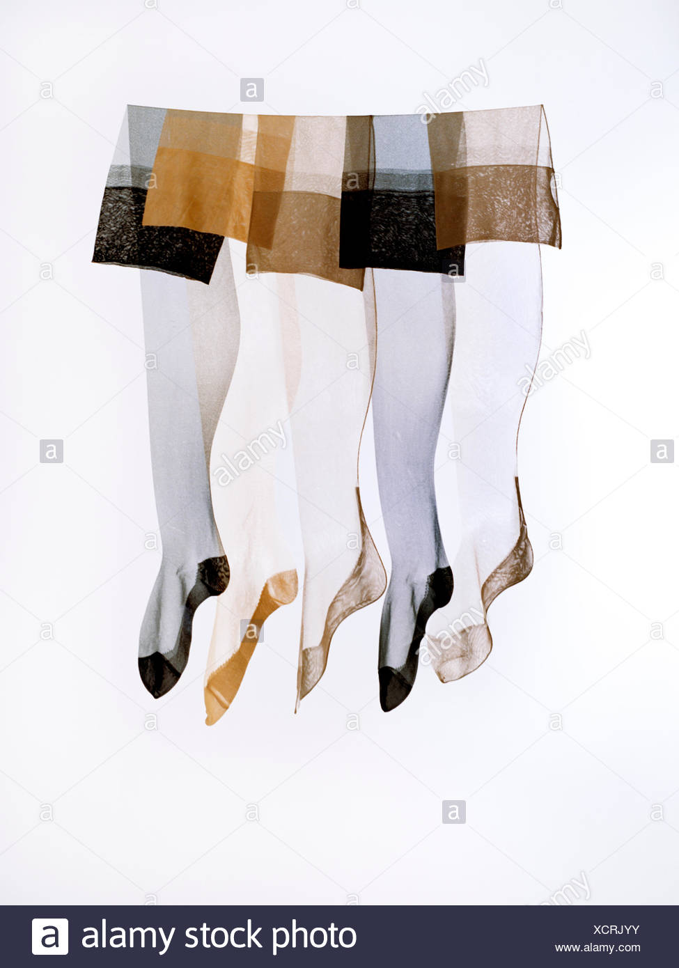 Nylon stockings against a white background. - Stock Image