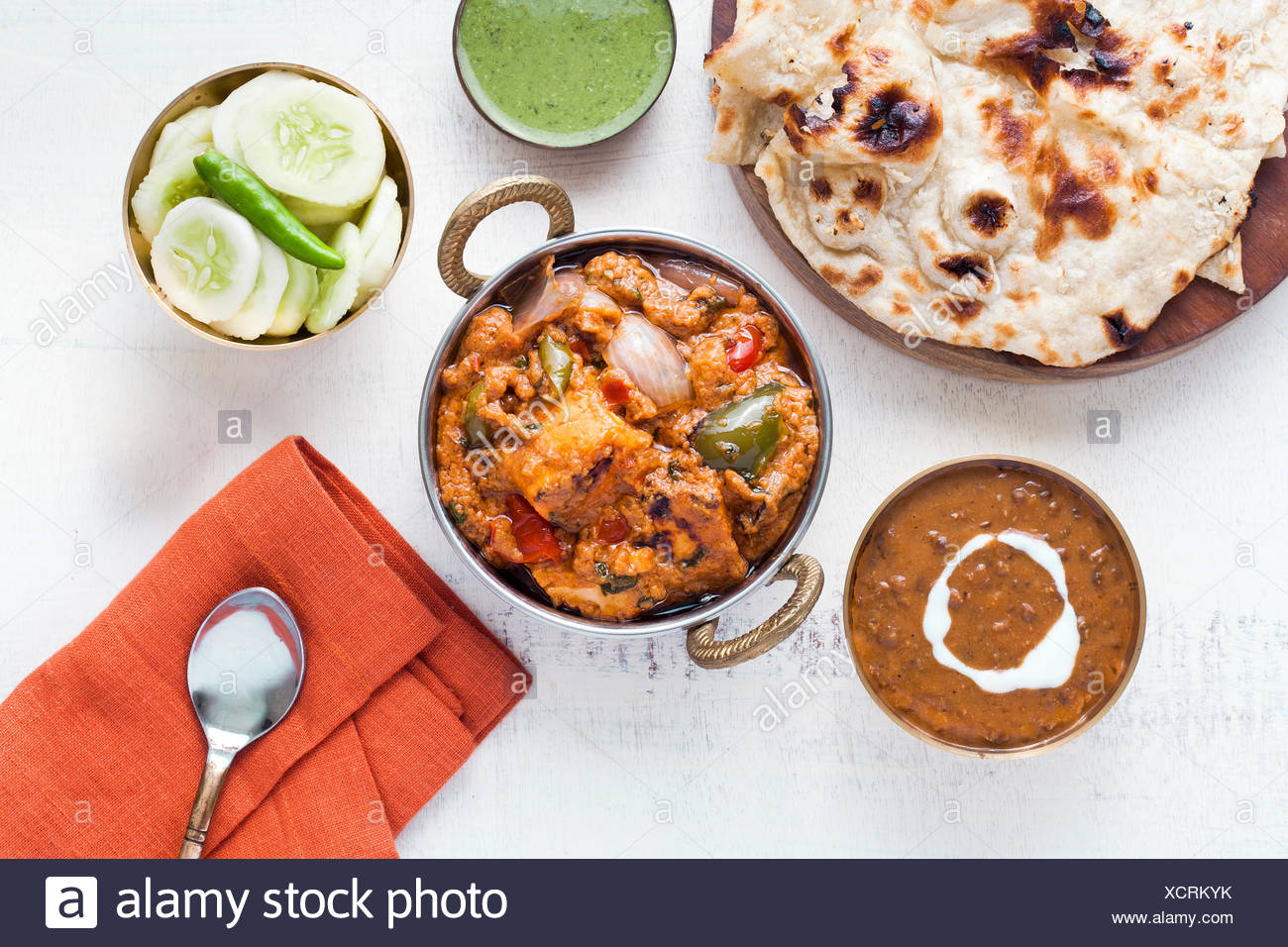 Indian Lunch with Paneer tikka masala, Dal Makhani, Naan, chutney and salad. - Stock Image