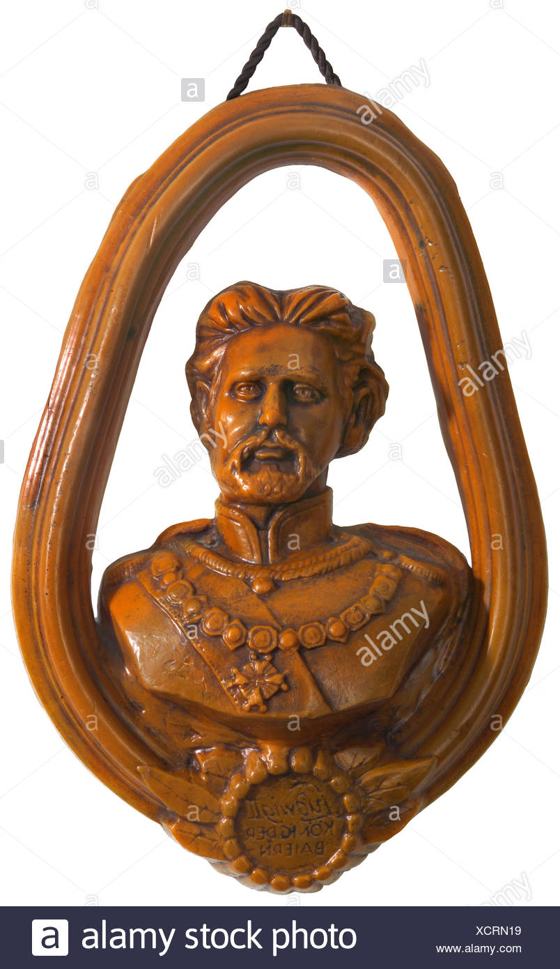 Louis II, 1845 bis 1886, Bavarian king, portrait, wax bust, wall decoration, Bavaria, Germany, 70s, Additional-Rights-Clearances-NA - Stock Image