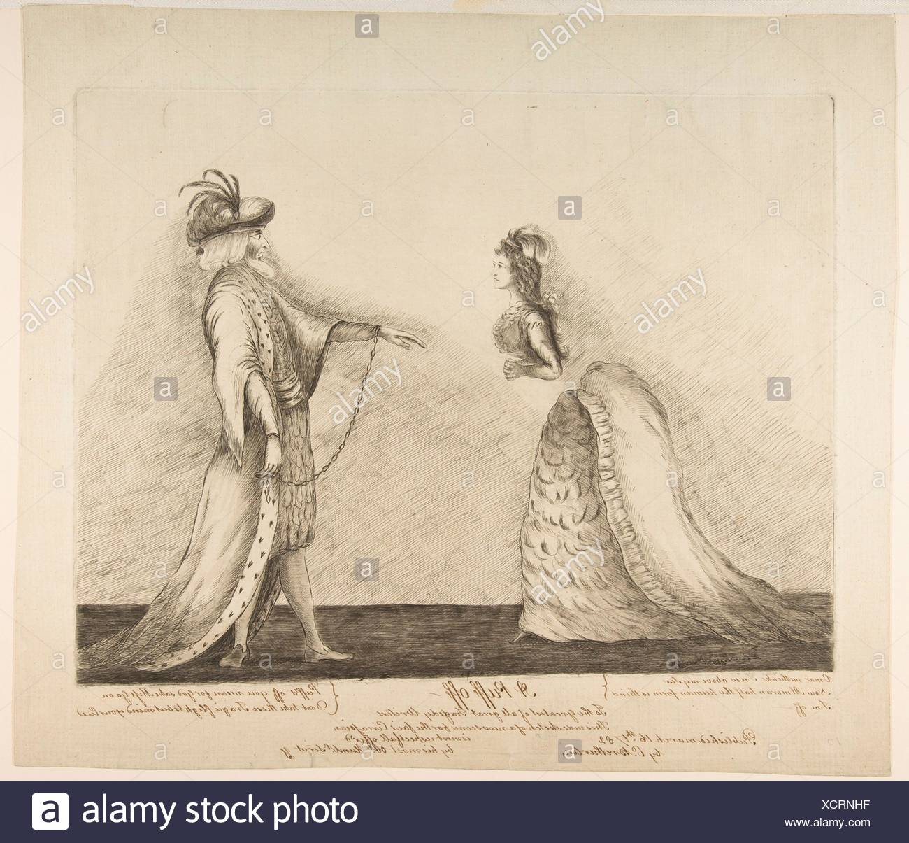 A Puff Off. Artist: James Sayers (British, 1748-1823); Publisher: Published London by Charles Bretherton (British, ca. 1760-1783); Date: ca. 1782; - Stock Image