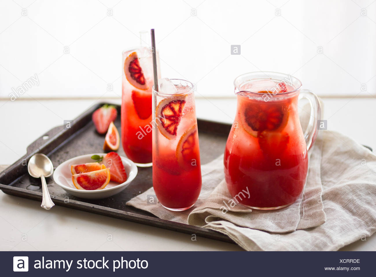 Blood orange strawberry punch drink - Stock Image