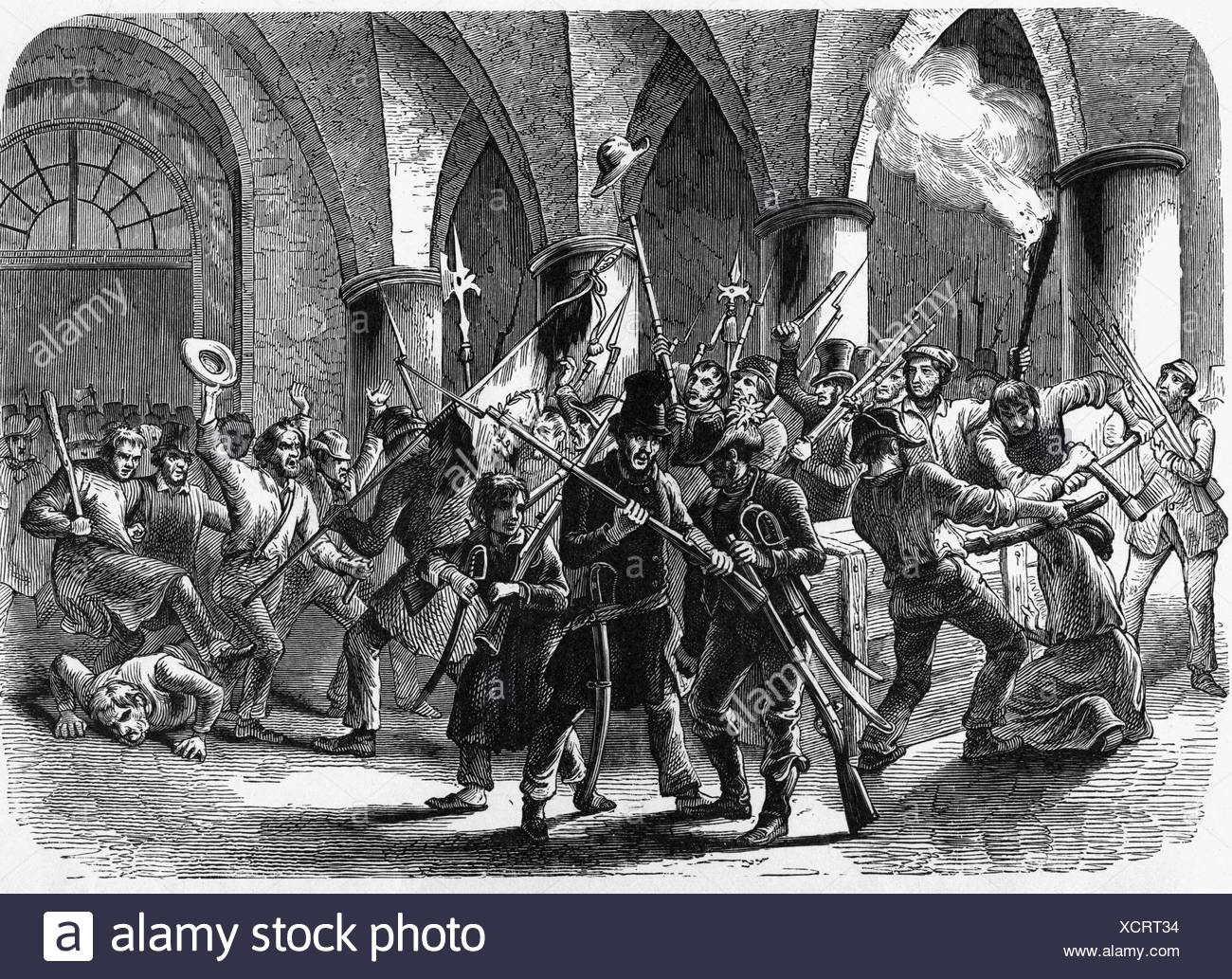 events, revolutions 1848 - 1849, Germany, Prussia, storming of the Berlin armoury, 14.6.1848, wood engraving, 19th century, Revolution, looting, weapons, revolutionaries, people, historic, historical, Additional-Rights-Clearances-NA - Stock Image