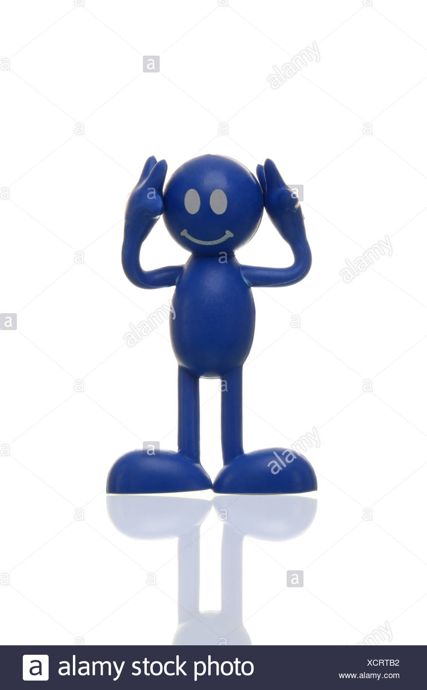 Blue figure covering its ears, hearing nothing, deaf - Stock Image