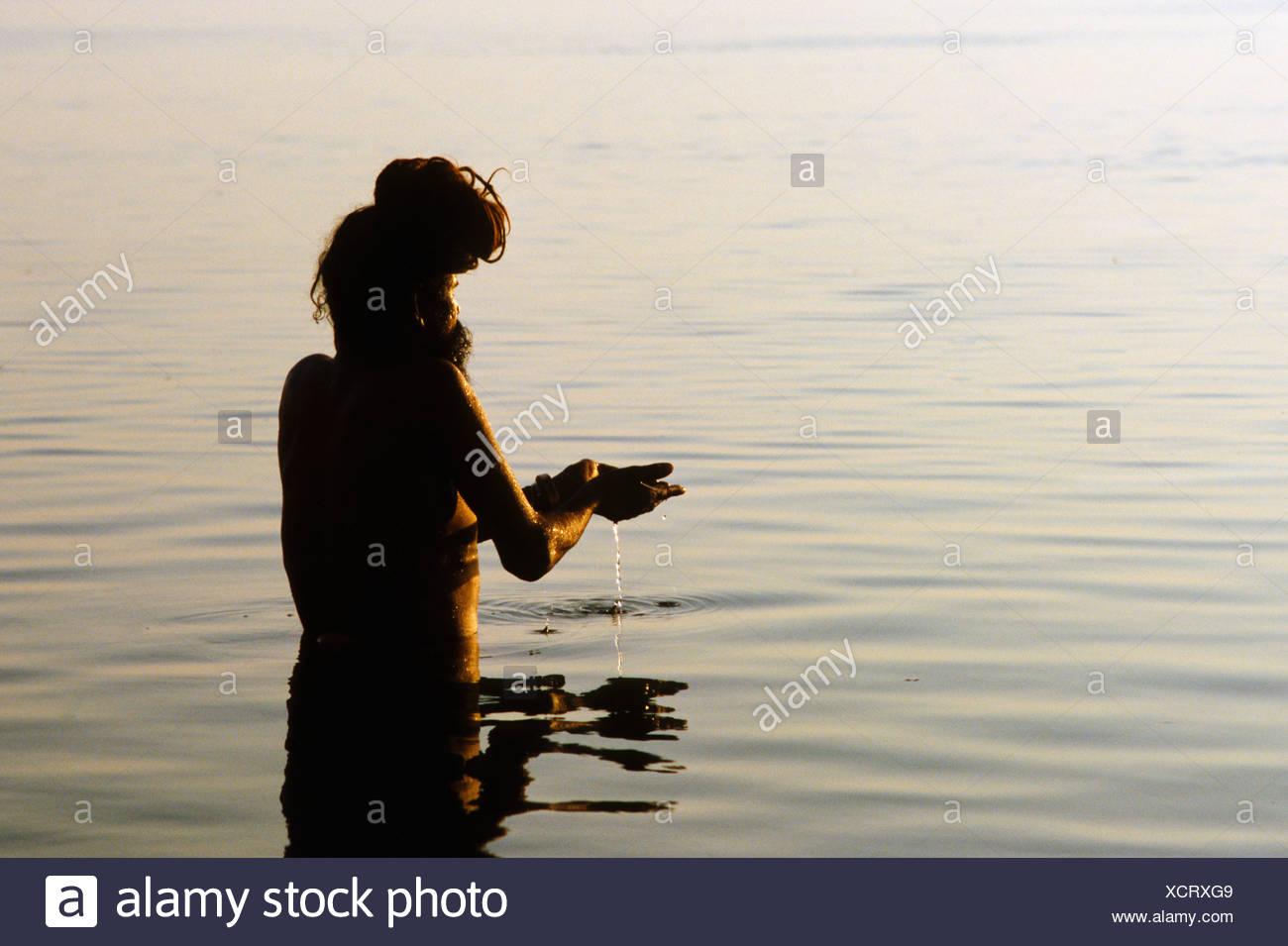 Sadhu During Hindu Morning Prayer Stock Photos & Sadhu During Hindu