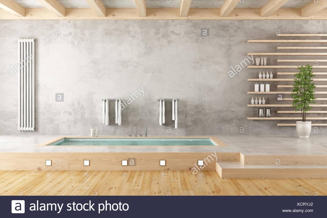 Minimalist Bathroom With Sunken Bathtub