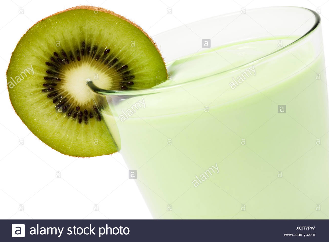 kiwi milkshake diagonally - Stock Image