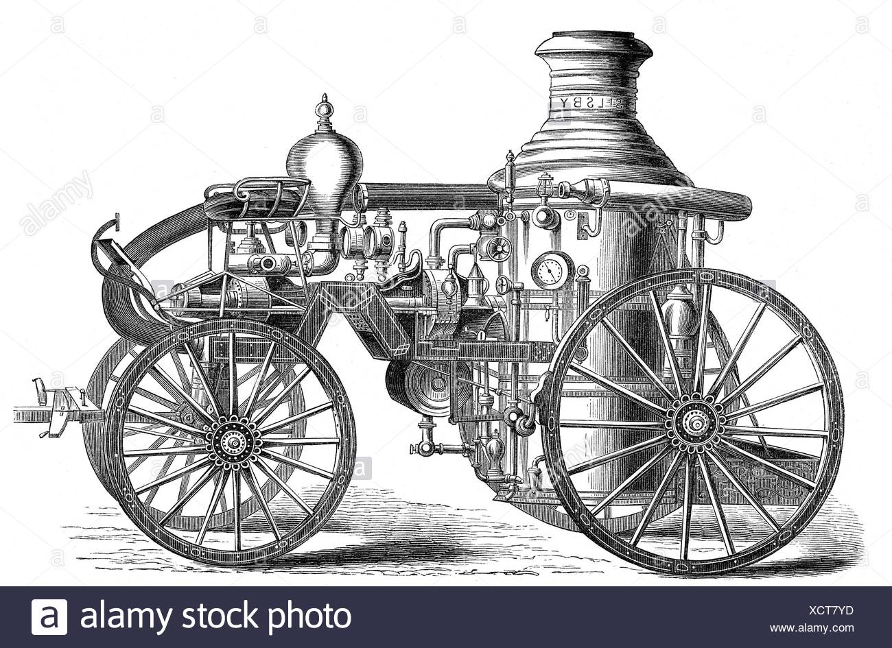 fire, fire service, equipment, steam fire engine of Selsby Company, England, wood engraving, 19th century, Additional-Rights-Clearences-NA - Stock Image
