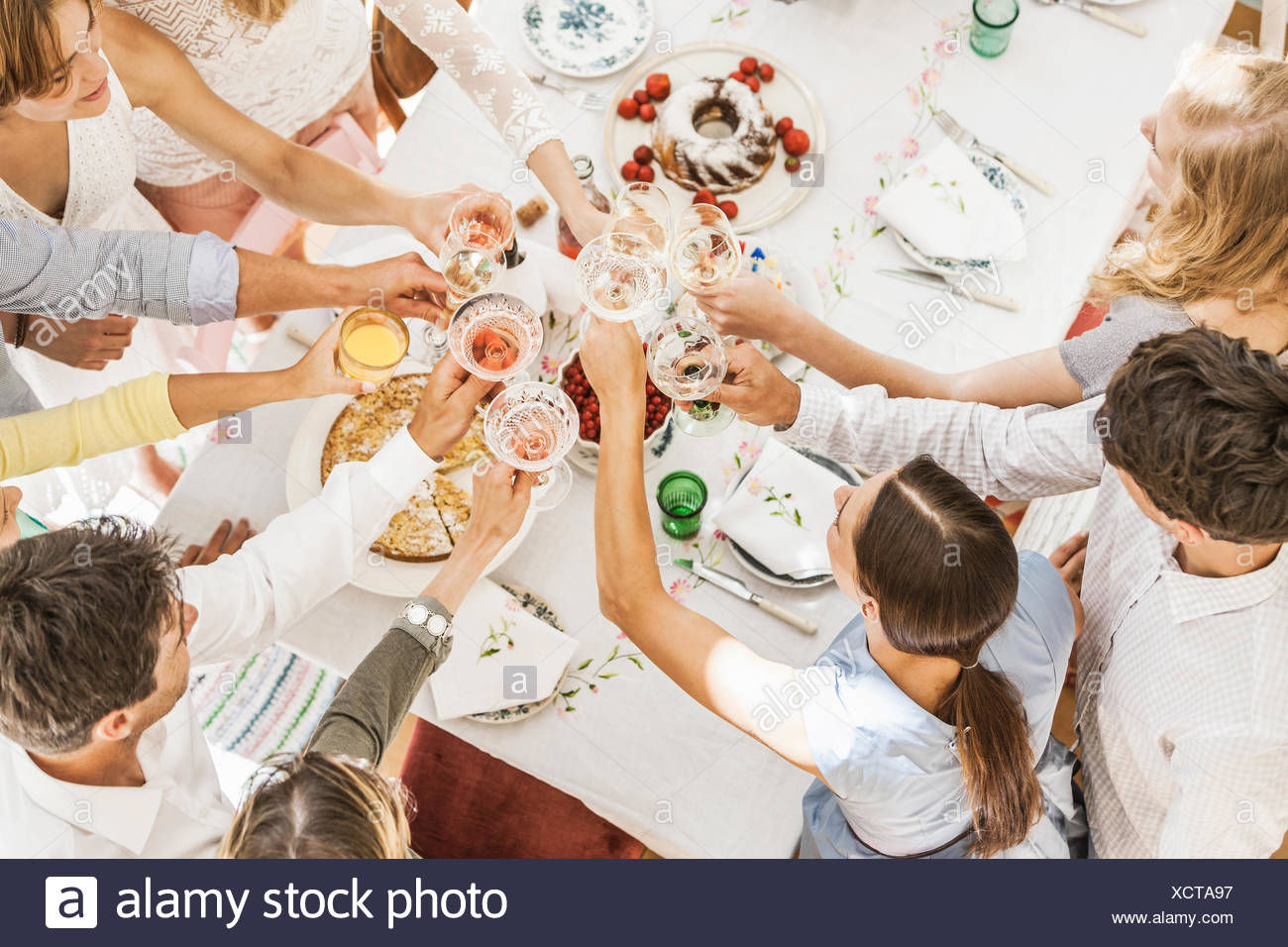 Overhead view of family making a toast at birthday party - Stock Image