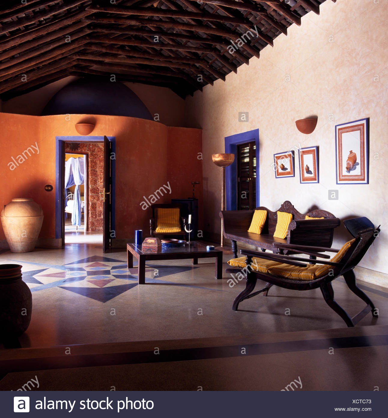 Marble Floor In Indian Living Room Stock Photo Alamy
